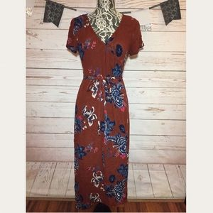 Billabong Floral Boho Wrap Maxi Dress Size M
